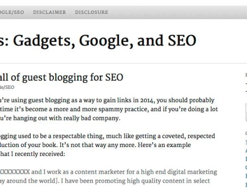 Guest blogging for links in 2014 will not work with Google