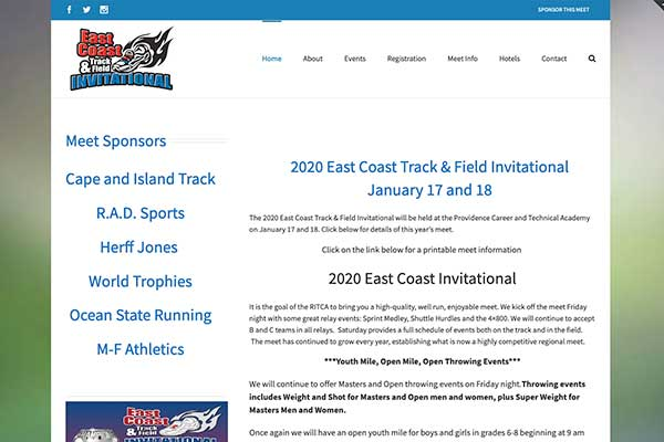 Wordpress site design for athletic competition