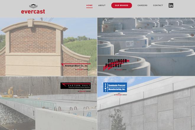 Wordpress site design for evercast concrete